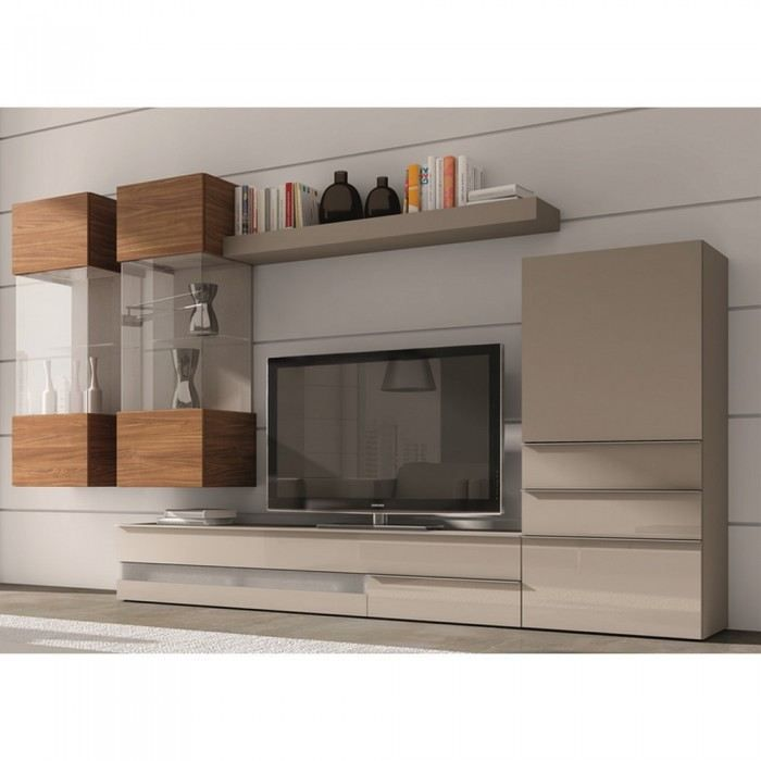 Meuble tv mural beige solutions pour la d coration for Meuble tv beige