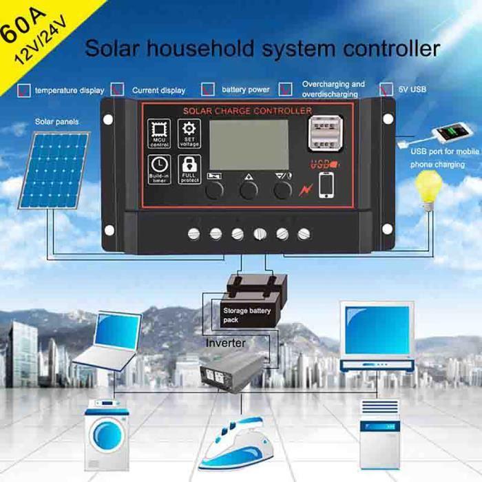 10//20//30A Amp 12V//24V Panneau solaire Régulateur de Charge Contrôleur Batterie Dual USB