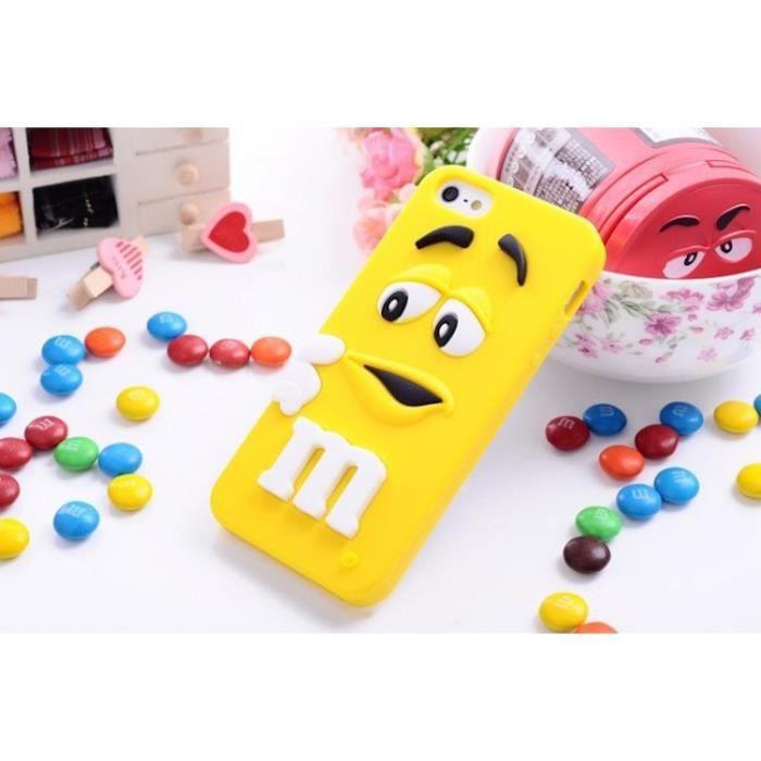 COQUE M&M'S JAUNE iPHONE 5 5S SE SILICONE SOUPLE ETUI HOUSSE ...