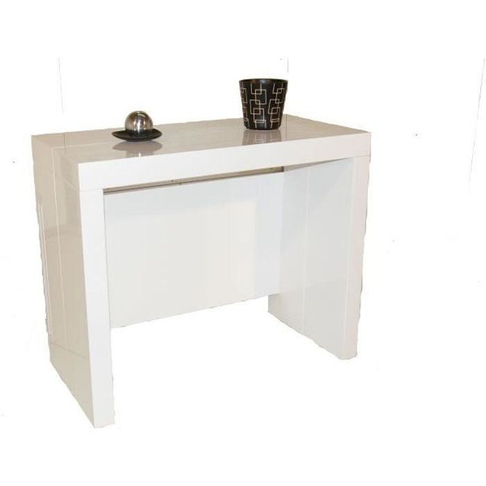 Console extensible allonges int gr es milano laqu blanc achat vente co - Cdiscount console extensible ...