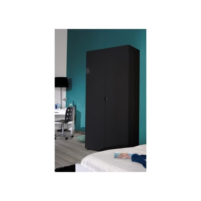 armoire noire 2 portes cubik achat vente armoire de. Black Bedroom Furniture Sets. Home Design Ideas