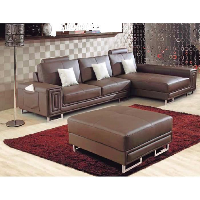 canap d 39 angle marron en cuir avec m ridienne achat. Black Bedroom Furniture Sets. Home Design Ideas
