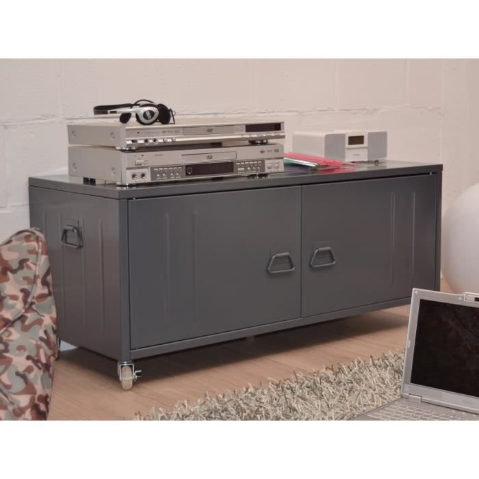beavis meuble tv coffre m tal gris achat vente meuble tv beavis coffre m tal gris cdiscount. Black Bedroom Furniture Sets. Home Design Ideas