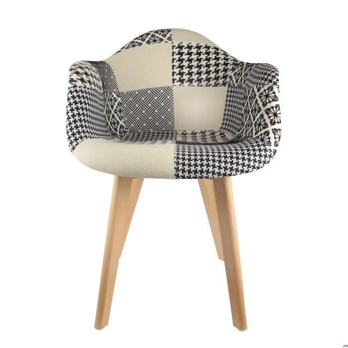 fauteuil scandinave patchwork achat vente fauteuil noir cdiscount. Black Bedroom Furniture Sets. Home Design Ideas