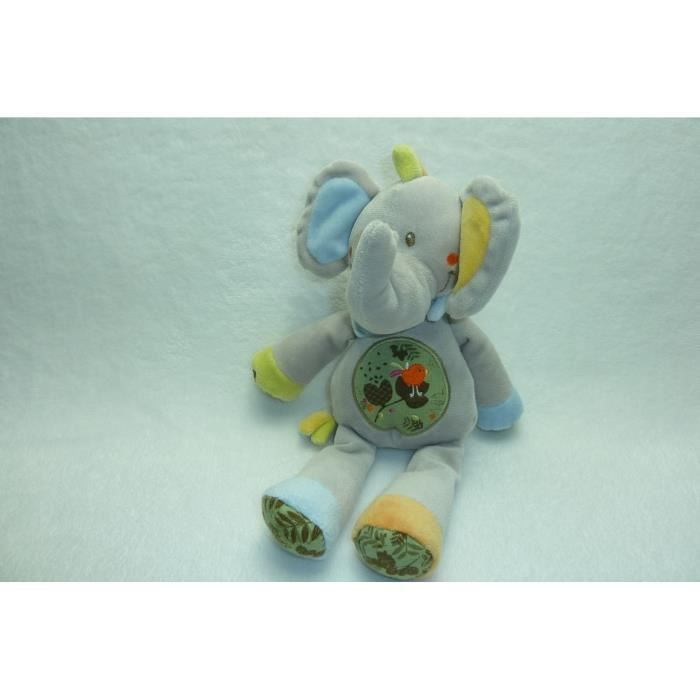 Doudou Nicotoy Simba Eléphant Musical Bleu Pattes Rayees Rouge et Vert