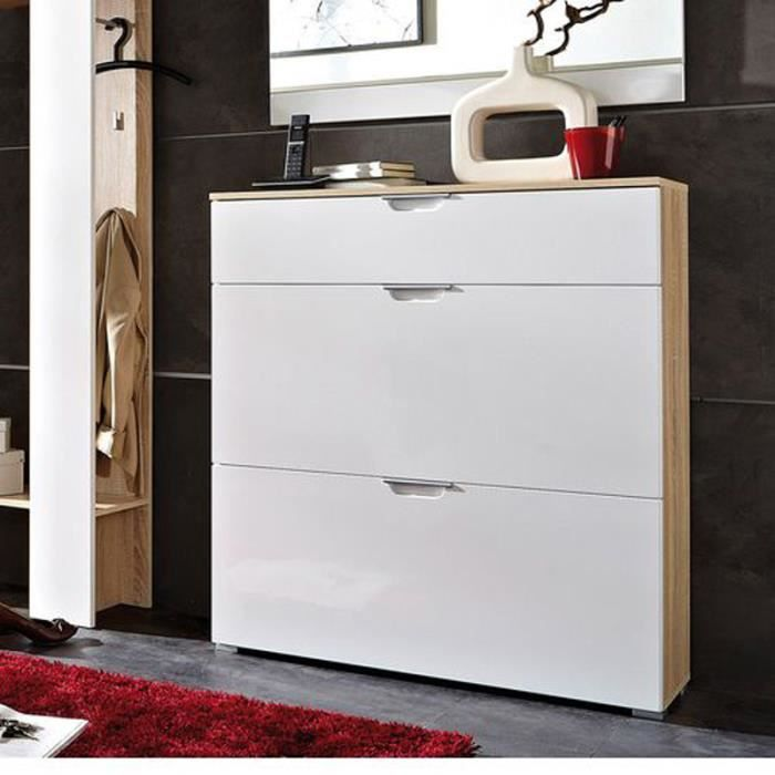 meuble chaussures ch ne blanc avec 2 abattant achat. Black Bedroom Furniture Sets. Home Design Ideas