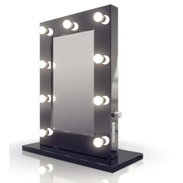 miroir de maquillage hollywood noir lampes led blanc