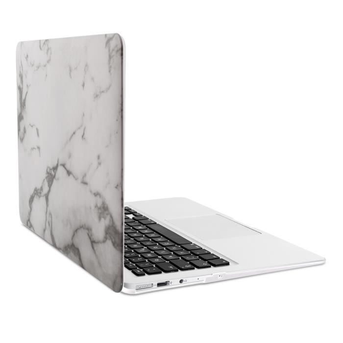 kwmobile tui rigide solide conception de marbre pour apple macbook air 13 blanc prix pas. Black Bedroom Furniture Sets. Home Design Ideas