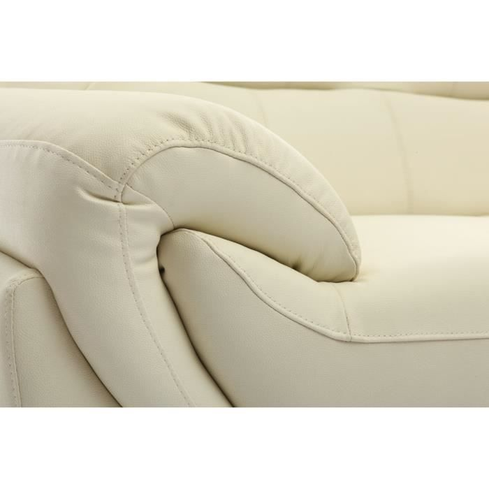 Miliboo canape cuir design creme 2 places kansas achat for Creme reparatrice canape cuir