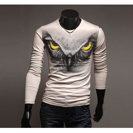 homme col roul t shirt manche longue imprim hibou dessin blanc achat vente t shirt cdiscount. Black Bedroom Furniture Sets. Home Design Ideas