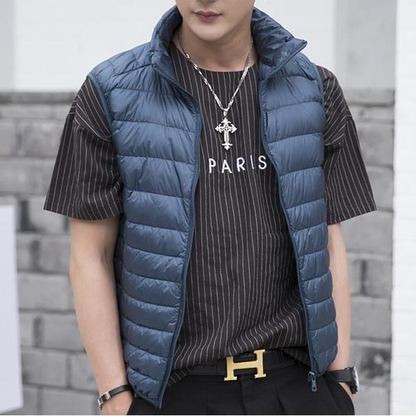 Homme Sans Doudoune Manteau Hiver clair Manche Down Zippée Gilet pour Ultra Légère Bleu Blouson Compressible Veste TJuFlK51c3
