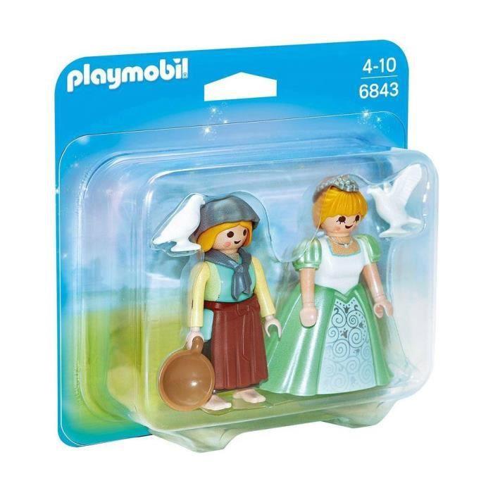UNIVERS MINIATURE Playmobil Duopack Princesse et Fermière