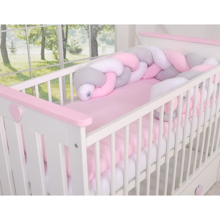 De Haute Qualite Tour De Lit Bébé Magic Loop Blanc Gris Rose
