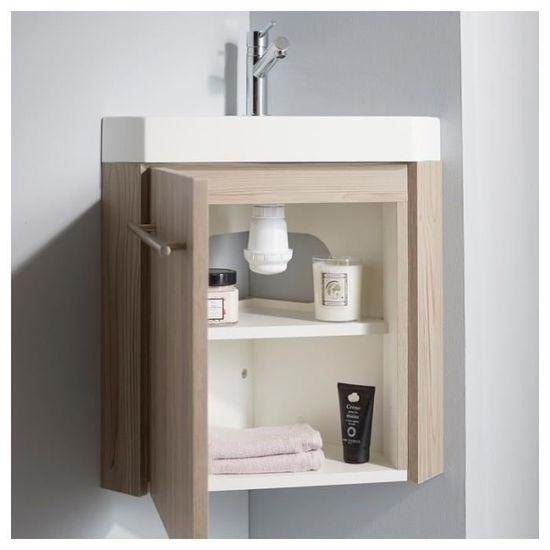 Lave-mains d\'angle en solid surface avec meuble complet couleur chêne