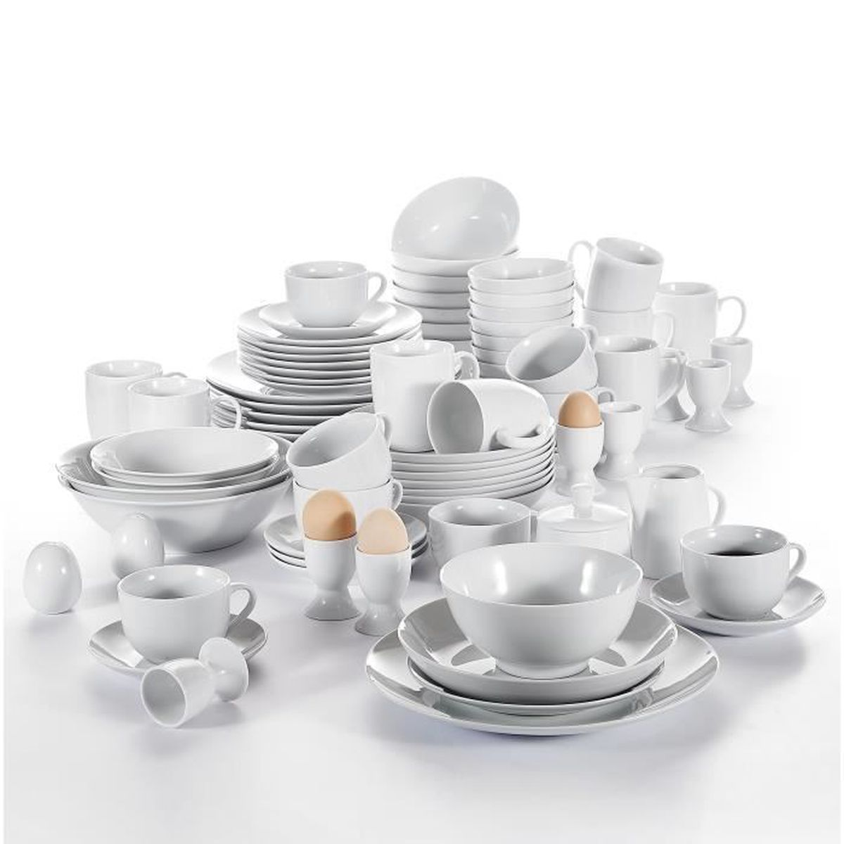 80pcs service de table porcelaine assiette bol saladier coquetier tasses mugs sucrier pot lait. Black Bedroom Furniture Sets. Home Design Ideas