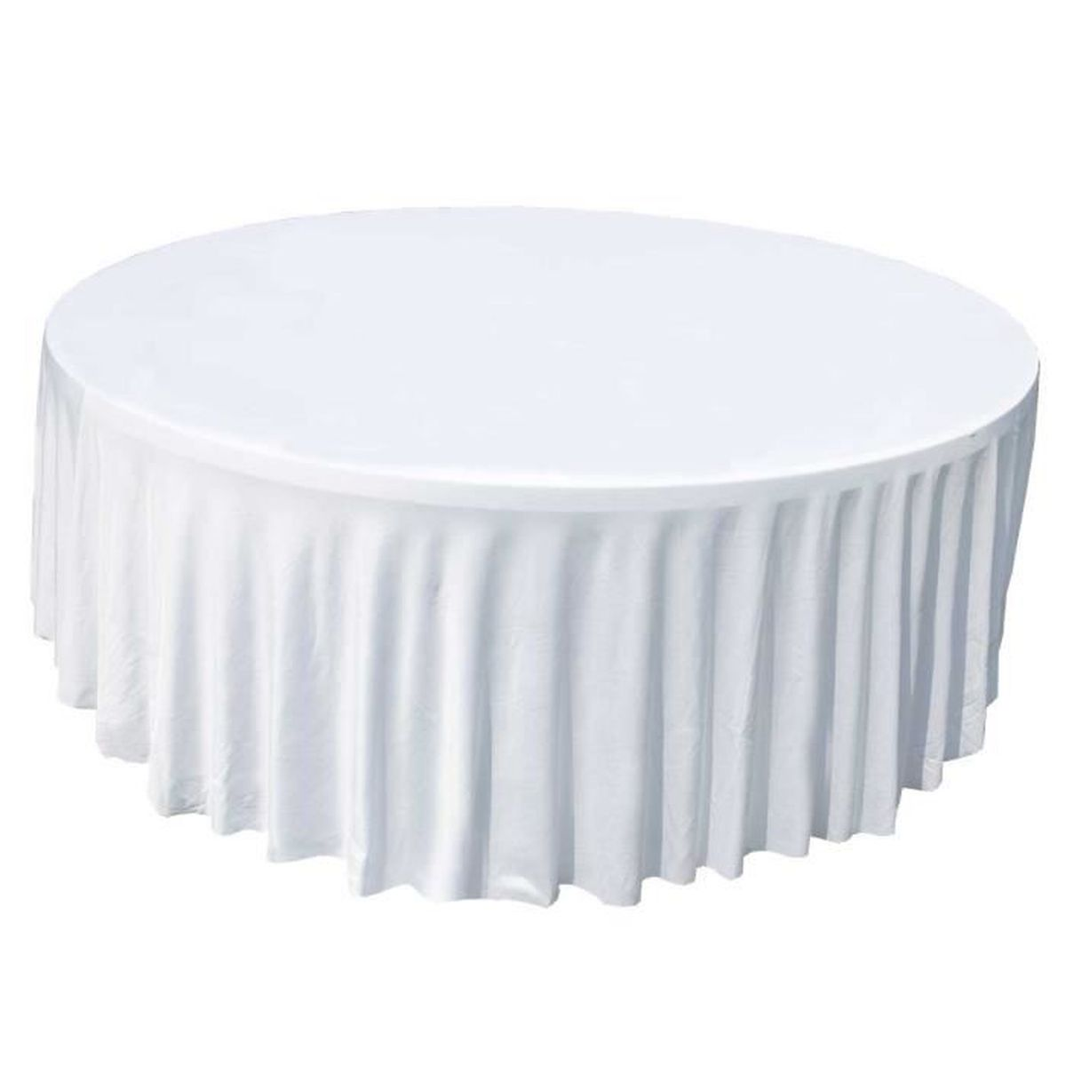 nappe pour table ronde 150cm blanche achat vente housse meuble jardin housse nappe ronde. Black Bedroom Furniture Sets. Home Design Ideas