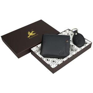PORTE MONNAIE Porte-monnaie en cuir noir hommes et porte-clés S8