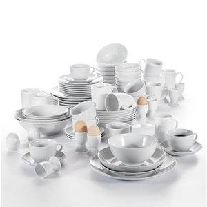 SERVICE COMPLET 80pcs Service de Table Porcelaine Assiette Bol Sal