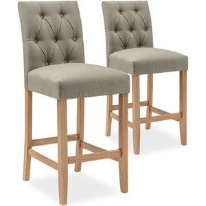 TABOURET DE BAR Lot de 2 chaises de bar en bois Gaya tissu Beige -