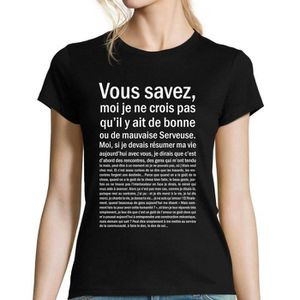 T-SHIRT Serveuse   T-shirt Femme bonne ou mauvaise   Astér