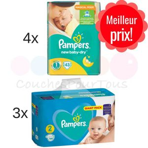 COUCHE PACK NAISSANCE PAMPERS tailles 1 et 2