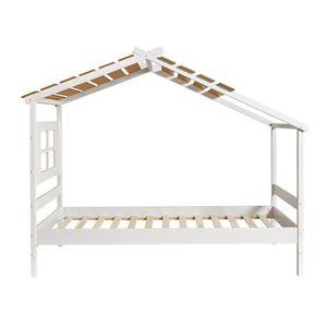 STRUCTURE DE LIT Lit cabane 90*190 cm Bois/Blanc - ODETTE - L 110 x