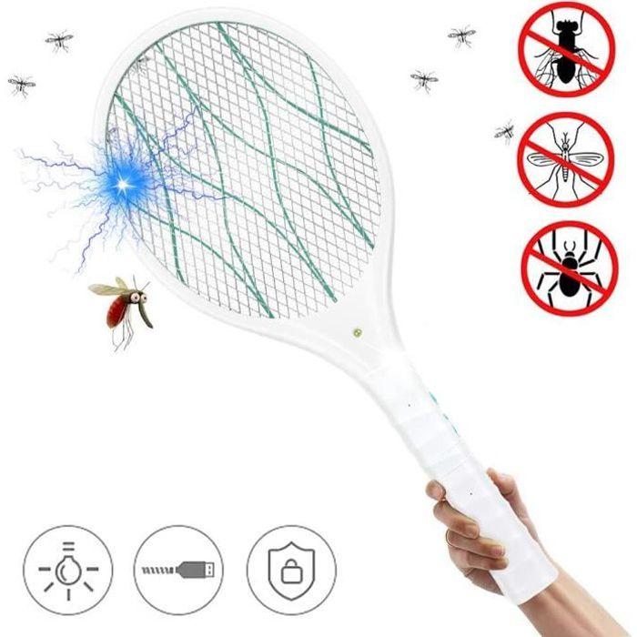 ZOMAKE Raquette Anti Moustique Electrique Rechargeable tapette/à Mouches et Autres Insectes Volants Rechargeable par USB /Éclairage LED Double Couche de Protection en Maille Roug