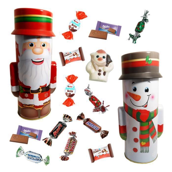 Père Nöel et Bonhomme de Neige debout garnis de 40 chocolats Kinder, Célébration et Milka
