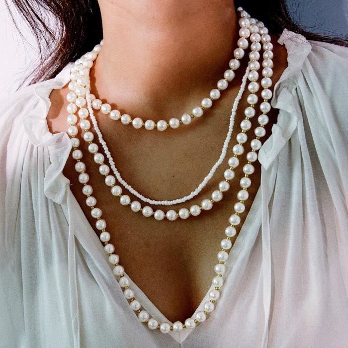Collier De Perles De Perles Multicouches Vintage_blanc