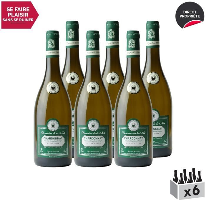 Val de Loire Chardonnay Blanc - Lot de 6x75cl - Vignoble Drouard - Vin IGP Blanc du Val de Loire - Cépage Chardonnay