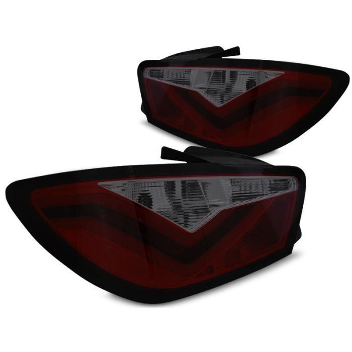 Paire de feux arriere Seat Ibiza 6J 3 portes 08-12 led LTI rouge fume (E22)