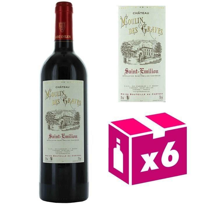 6 bouteilles Château Moulin des Graves vin rouge - St Emilion 2012