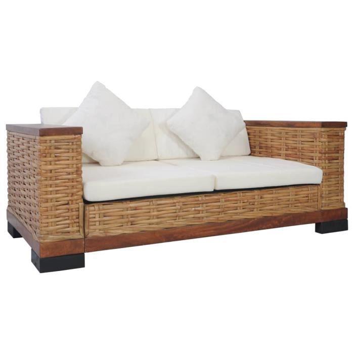 Canapé à 2 places avec coussins Marron Rotin naturel