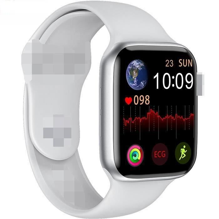 Montre Connectée W6 Smartwatch 1,75- Écran IP68 Étanche Bluetooth 4.0+3.0 pour iPhone Samsung ou XIAOMI Blanc