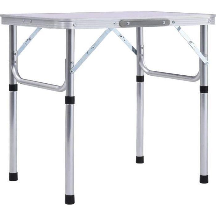 French ®1424Super Table de Camping Portable Table de Jardin Pliable de 4 à 6 places terrasse Décor - Table de pique-nique Blanc Alum
