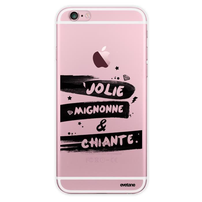 Coque iPhone 6 iPhone 6S rigide transparente Jolie Mignonne et chiante Ecriture Tendance et Design Evetane