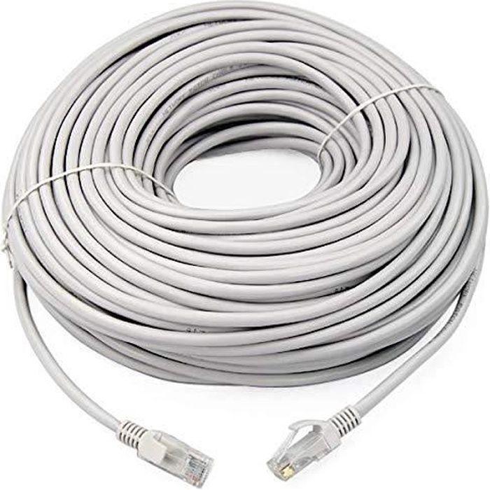Link e : Cable reseau Rj45 100m Cat.6 gris, ethernet, qualité pro, haut débit, connexion Internet Box Tv Pc Ps4 Switch Xbox Wii ...