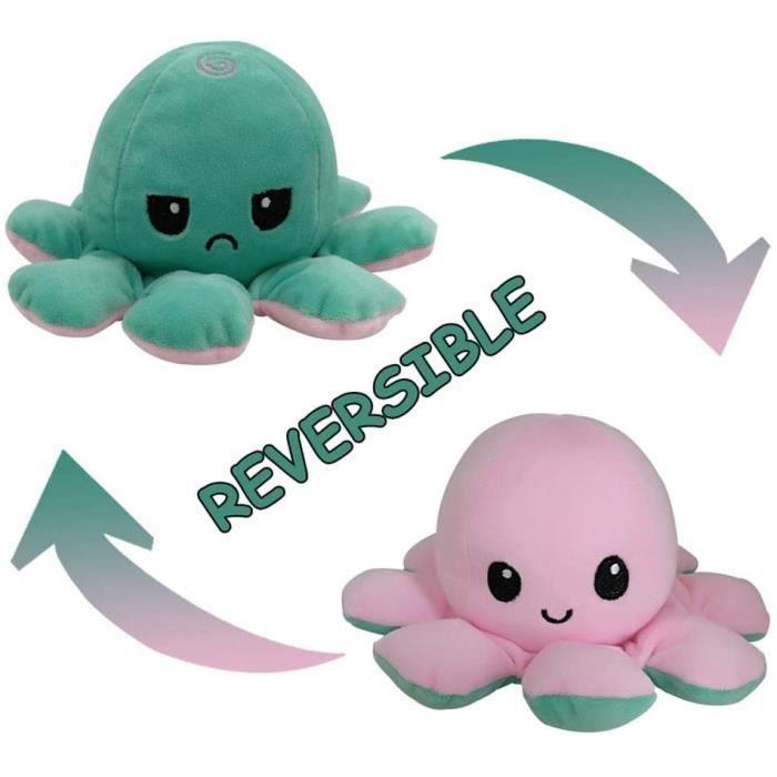 Peluche Poulpe Reversible Poupée en Peluche Double Face Flip Octopus pour Garçons Filles