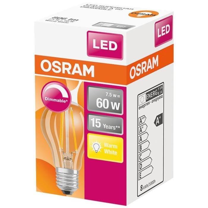 OSRAM Ampoule LED Standard clair filament variable - 7W équivalent 60W E27 - Blanc chaud
