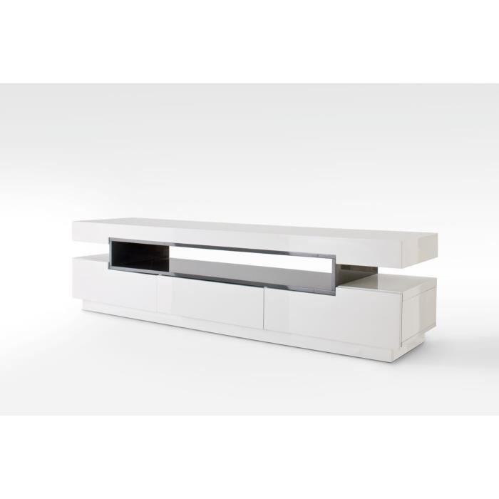 Meuble TV avec 3 tiroirs coloris laque blanc brillant et gris - L200 x H52 x P50 cm