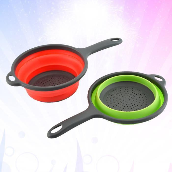 2 pcs Cuisine Pliante Télescopique Longue Poignée Silicone Drain Panier pour Fruits Légumes Riz Nettoyage (Couleur Aléatoire)