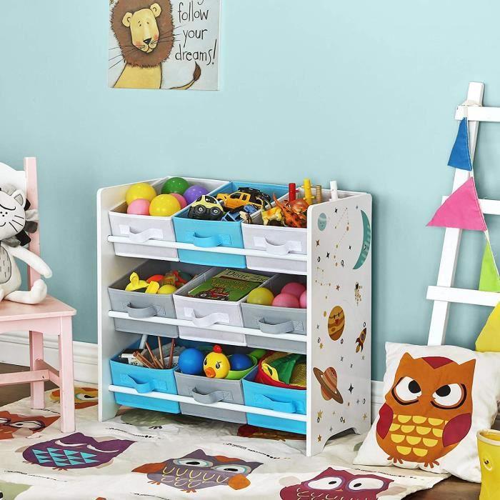 Étagère de rangement enfant pour jouets et livres, 9 Boîtes amovibles Tissu non-tissé, 62,5 x 29,5 x 60 cm, Blanc GKR33WT SONGMICS