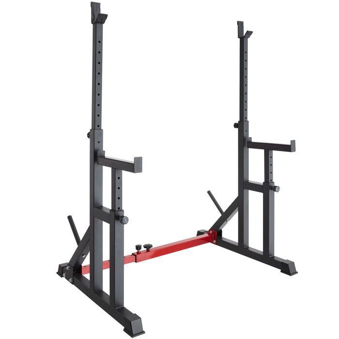 TECTAKE Rack de Squat pour Haltères Support de Musculation Réglable en Hauteur et en Largeur Acier Noir