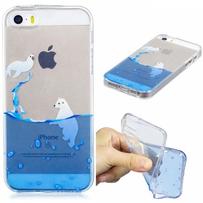 Coque téléphone Apple iPhone 5 5S 5G silicone transparente Eau de ...