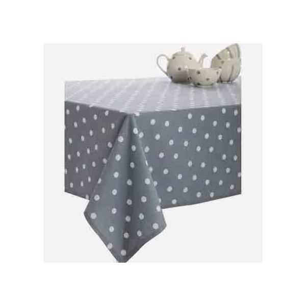 nappe carr e pois gris blanc coton enduit plastifi 1m50. Black Bedroom Furniture Sets. Home Design Ideas