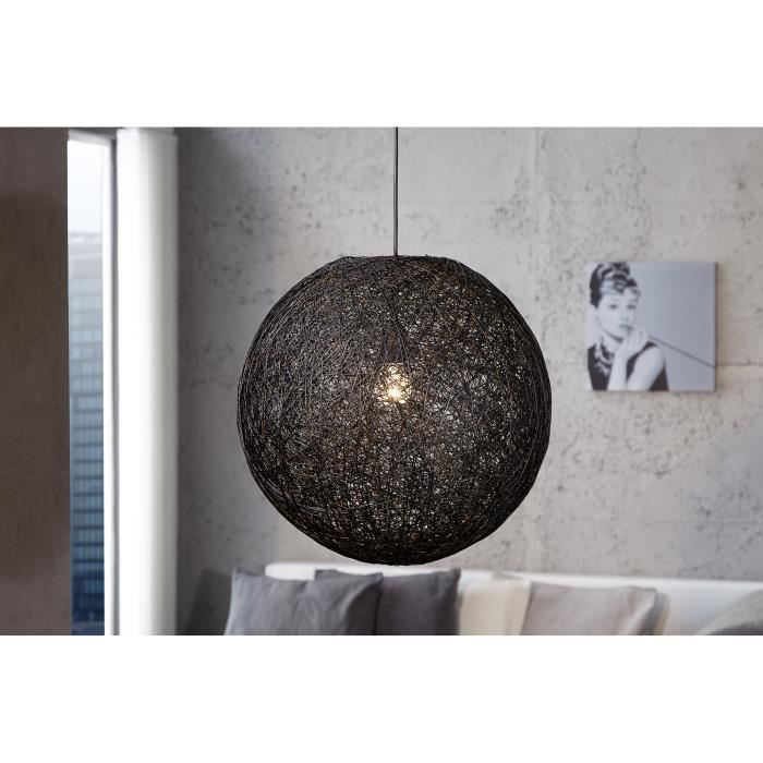 suspension boule abaca 45 cm coloris noir achat vente suspension boule abaca 45 c cdiscount. Black Bedroom Furniture Sets. Home Design Ideas