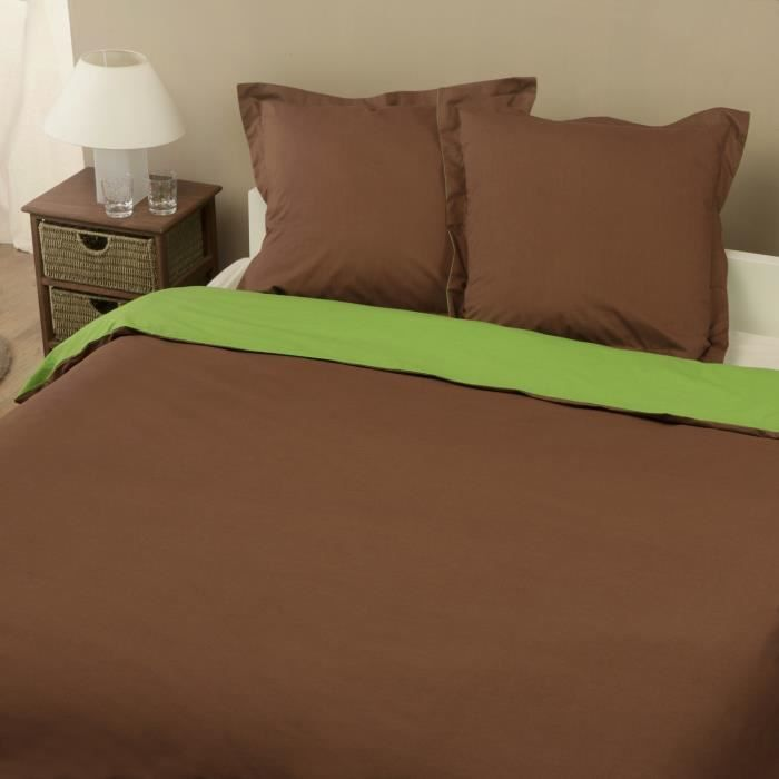 parure housse de couette en 100 coton bicolore chocolat vert 240x220 cm 2 taies d. Black Bedroom Furniture Sets. Home Design Ideas