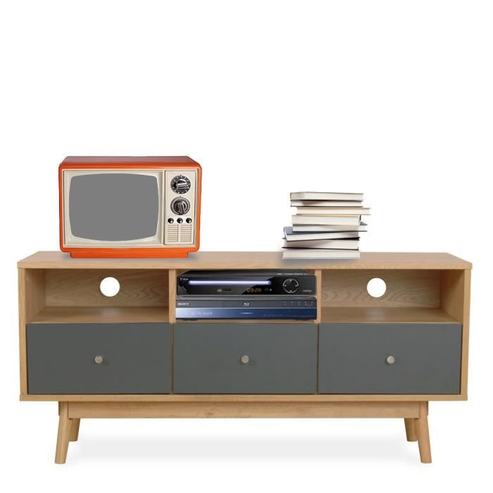 meuble tv design scandinave 3 tiroirs skoll couleur gris achat vente meuble tv meuble tv. Black Bedroom Furniture Sets. Home Design Ideas