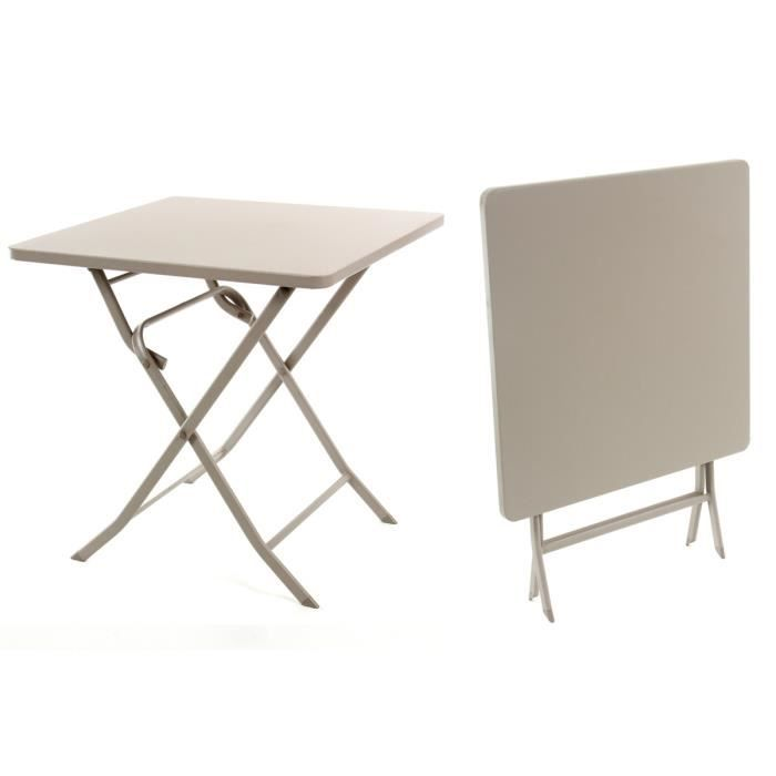 Table carr e greensboro pliante 70 x 70 cm taupe hesp ride for Table 70 cm de large