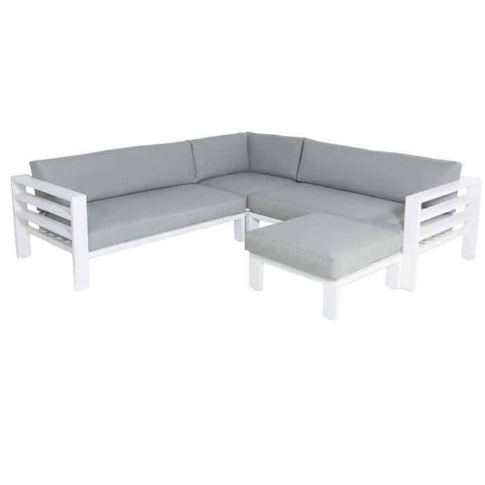 salon d 39 angle de jardin en aluminium blanc adela de achat vente salon de jardin salon d. Black Bedroom Furniture Sets. Home Design Ideas